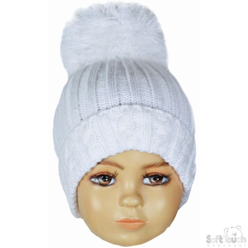 Small White Cable Knit Pom-Pom Winter Hat 0-12M (H480-W-SM)