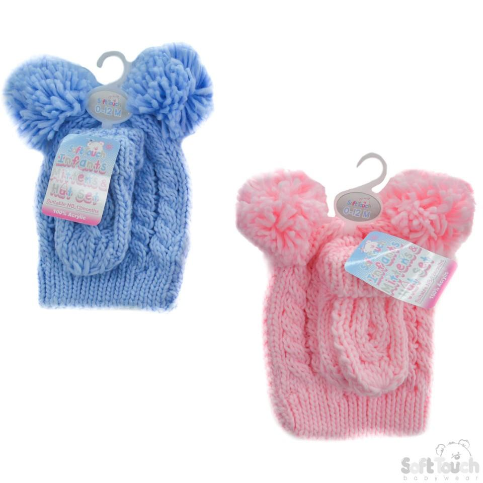 Pink/Blue Small Heavy Knit Pom-Pom Hat & Mitten Set - 0-12M (H482-PB-SM)