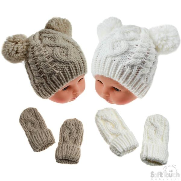 Cream/Beige Heavy Knit Pom-Pom Hat & Mitten Set - 12-24M (H483-CBE-MED)