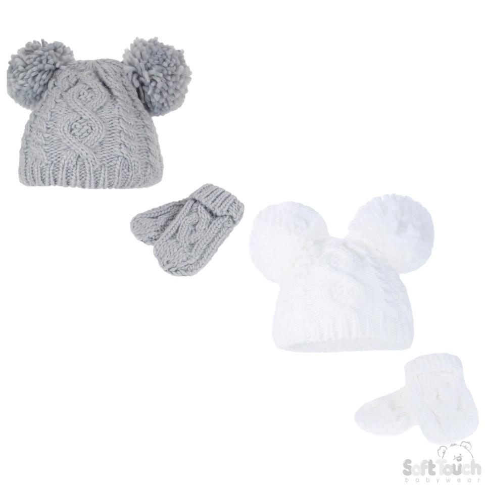 Grey/White Heavy Knit Pom-Pom Hat & Mitten Set - 12-24M (H483-GW-MED)
