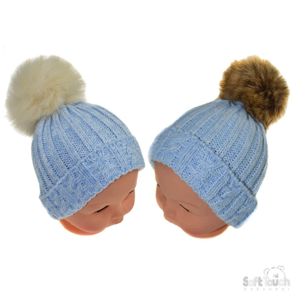 Small Blue Cable Knit Hat W/Fluffy Pom-Pom 0-12M (H486-B-SM)