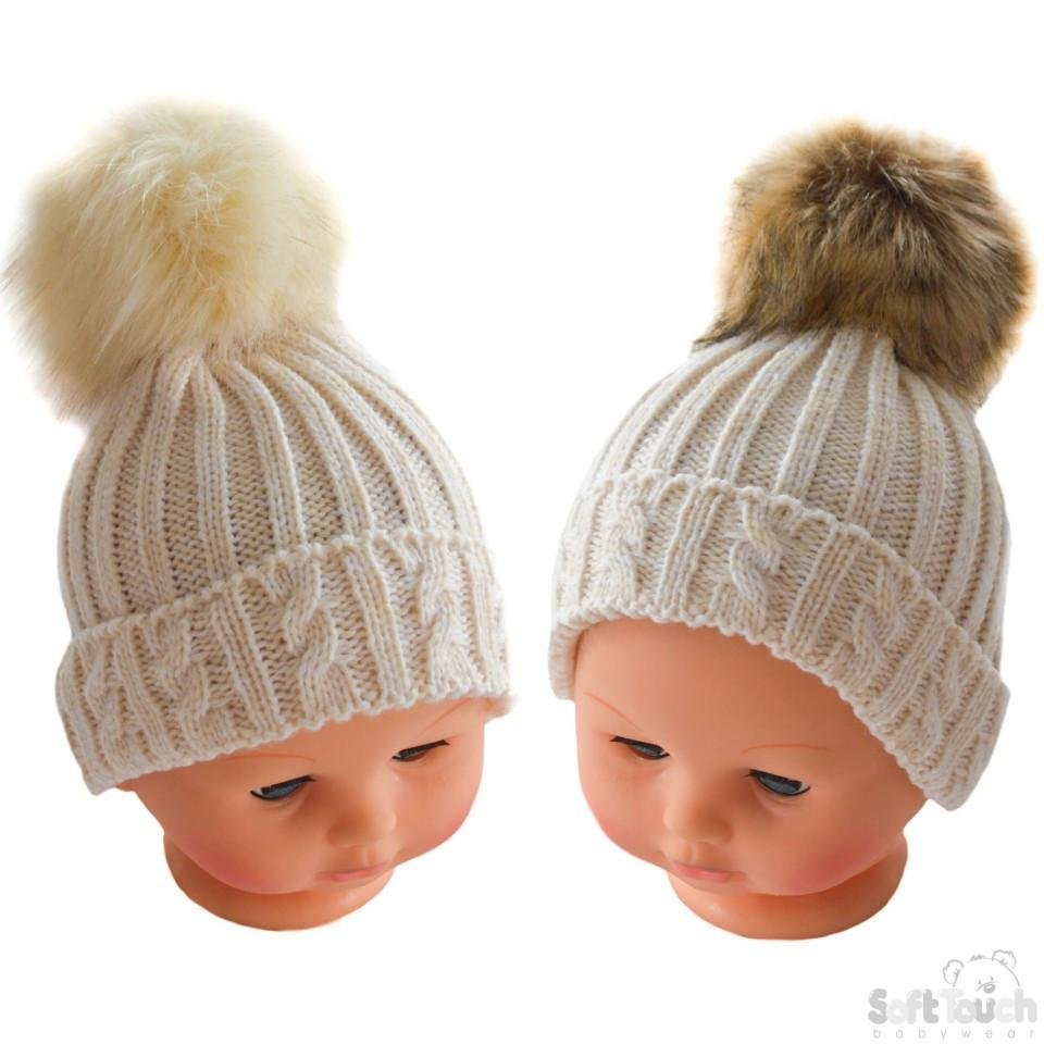 Small Beige Cable Knit Hat W/Fluffy Pom-Pom 0-12M (H486-BE-SM)