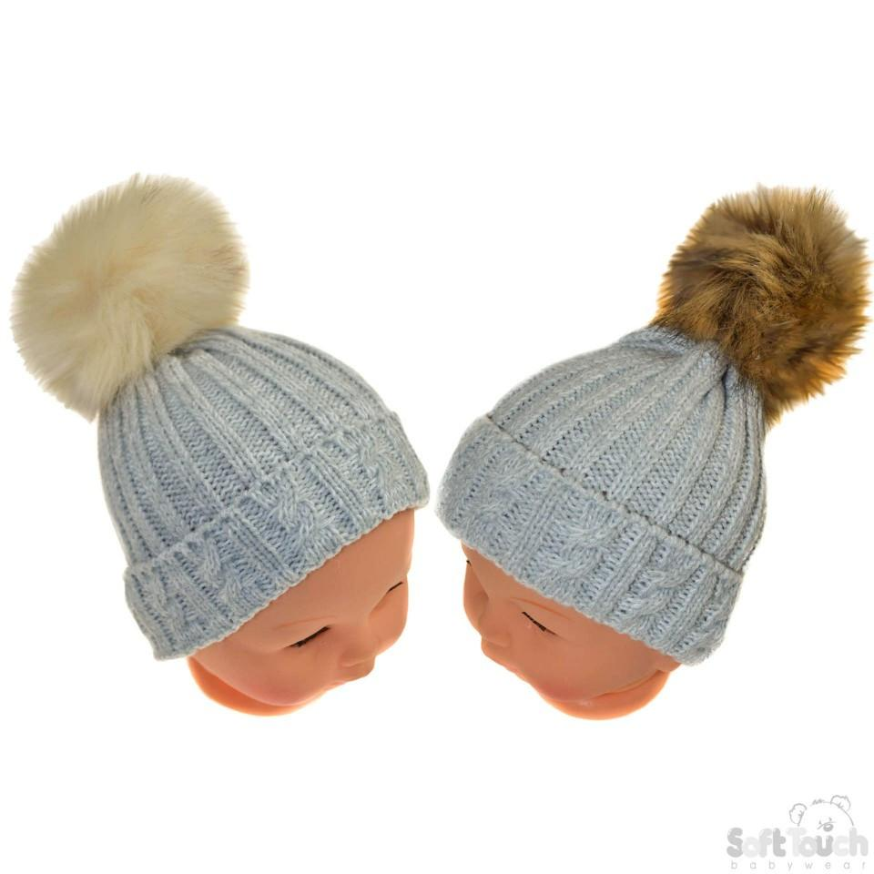 Small Grey Cable Knit Hat W/Fluffy Pom-Pom 0-12M (H486-G-SM)