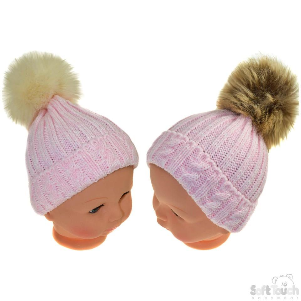 Small Pink Cable Knit Hat W/Fluffy Pom-Pom 0-12M (H486-P-SM)