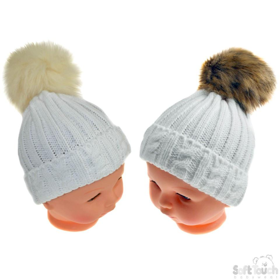 Small White Cable Knit Hat W/Fluffy Pom-Pom 0-12M (H486-W-SM)