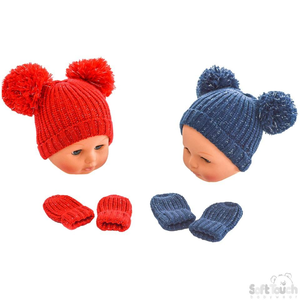Knitted Pom-Pom Hat & Mitten Set - Red & Navy - NB-12M (H492-RN-SM)