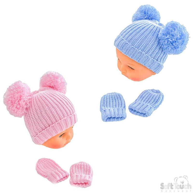 Knitted Pom-Pom Hat & Mitten Set - 12-24M (H494-PB-M) - Kidswholesale.co.uk