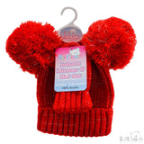 Knitted Pom-Pom Hat & Mitten Set - Red & Navy - 12-24M (H494-RN-M)