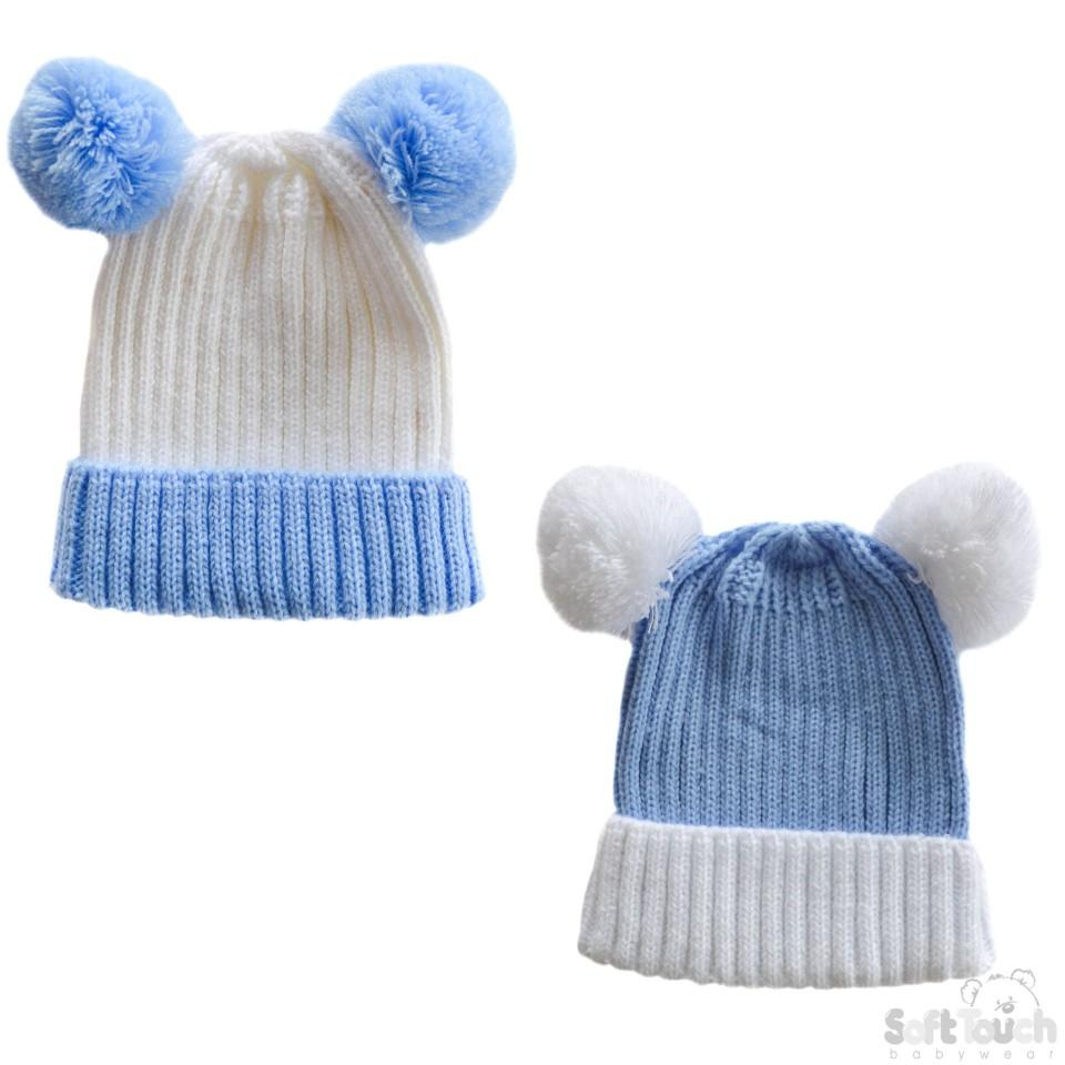 Small Double Colour Cable Knit Hat W/Fluffy Pom-Pom - Blue/White - NB-12M (H496-B-SM)