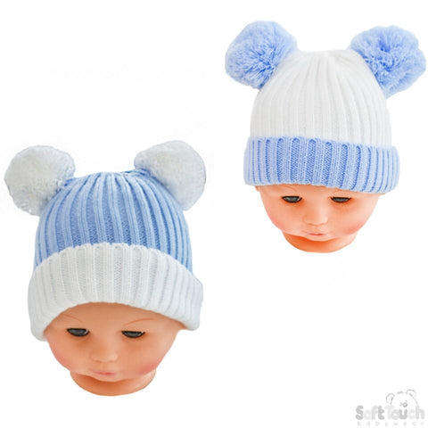 cd6e5d903a1 Soft Touch. Small Double Colour Cable Knit Hat W Fluffy Pom-Pom ...