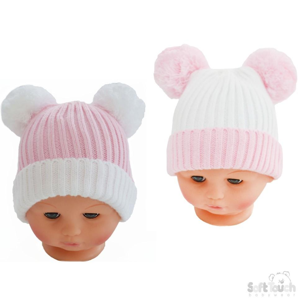 ... Small Double Colour Cable Knit Hat W Fluffy Pom-Pom - Pink White ... 30755faf89a