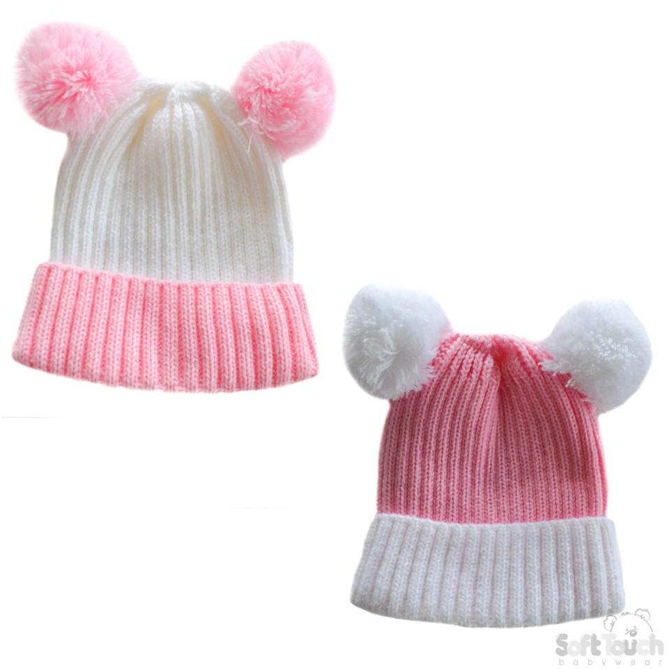 cea2938c088 Small Double Colour Cable Knit Hat W Fluffy Pom-Pom - Pink White ...