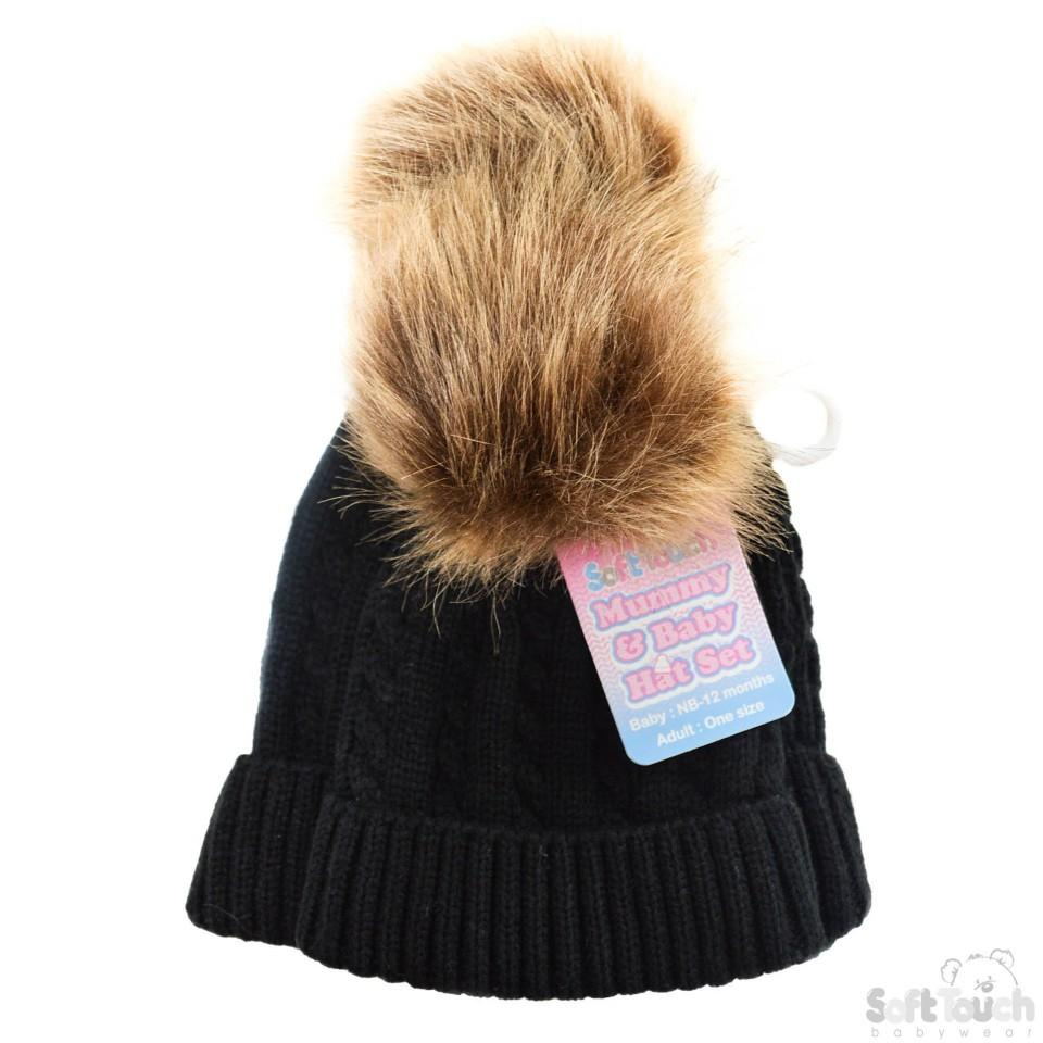 5e1a3ea1c Mummy & Baby Cable Knit Hat W/Fluffy Pom-Pom -Black- NB-12M & Adult size  (H502-BLK)