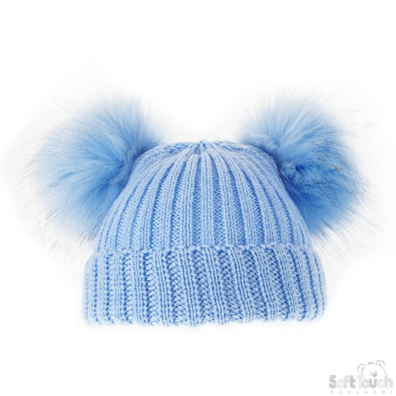 Small Blue Double Pom-Pom Hat - NB-6M (H506-B-SM) - Kidswholesale.co.uk