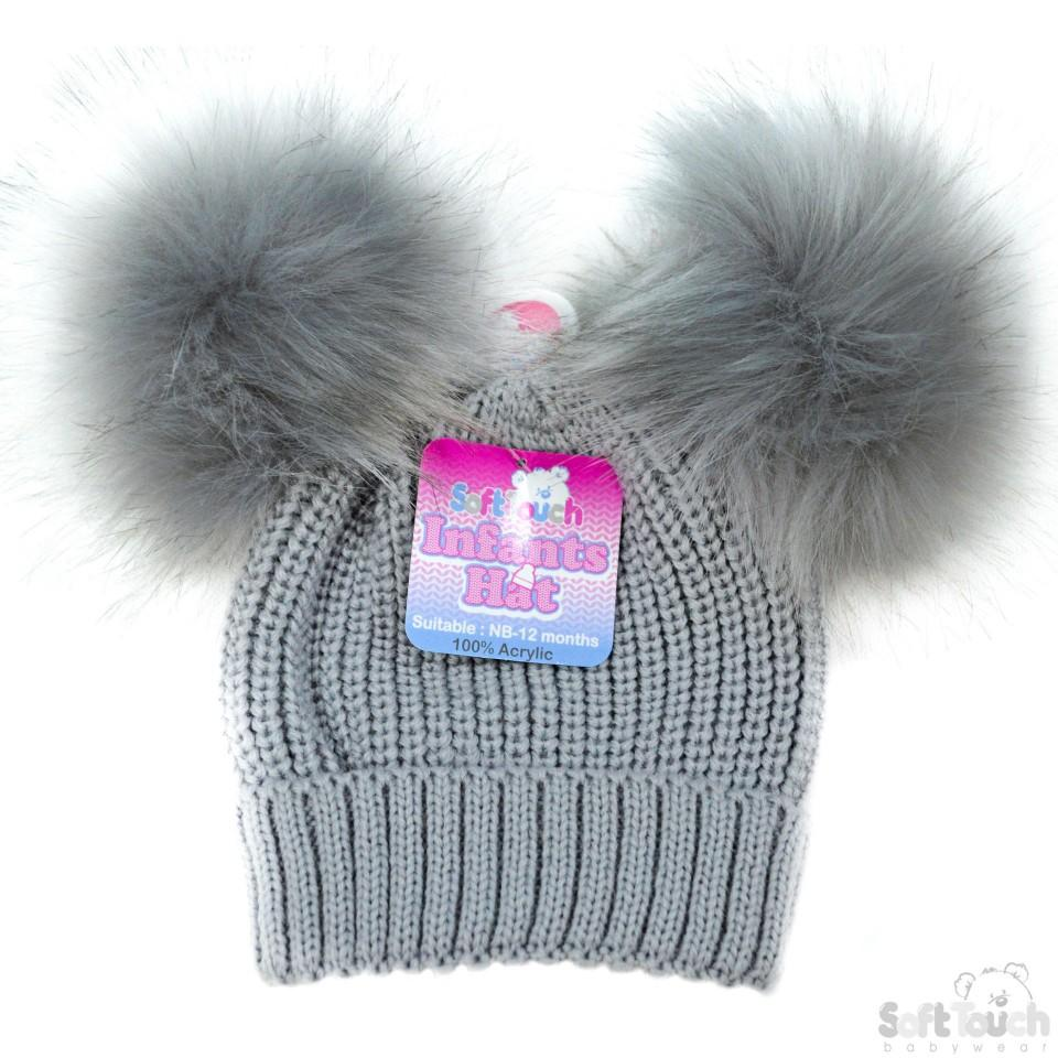 Small Grey Double Pom-Pom Hat - NB-12M (H506-G-SM)