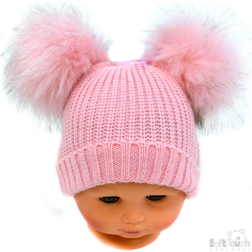 Small Pink Double Pom-Pom Hat - NB-12M (H506-P-SM)