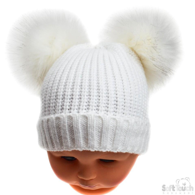 Small White Double Pom-Pom Hat - NB-6M (H506-W-SM) - Kidswholesale.co.uk