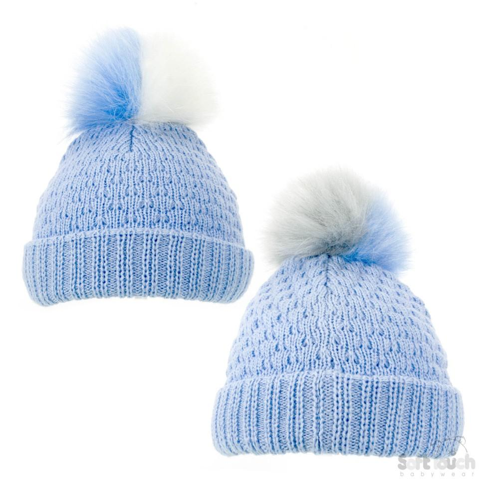 Blue Diamond Ribbed Hat -Double colour pom pom (NB-12M) H600-B-SM
