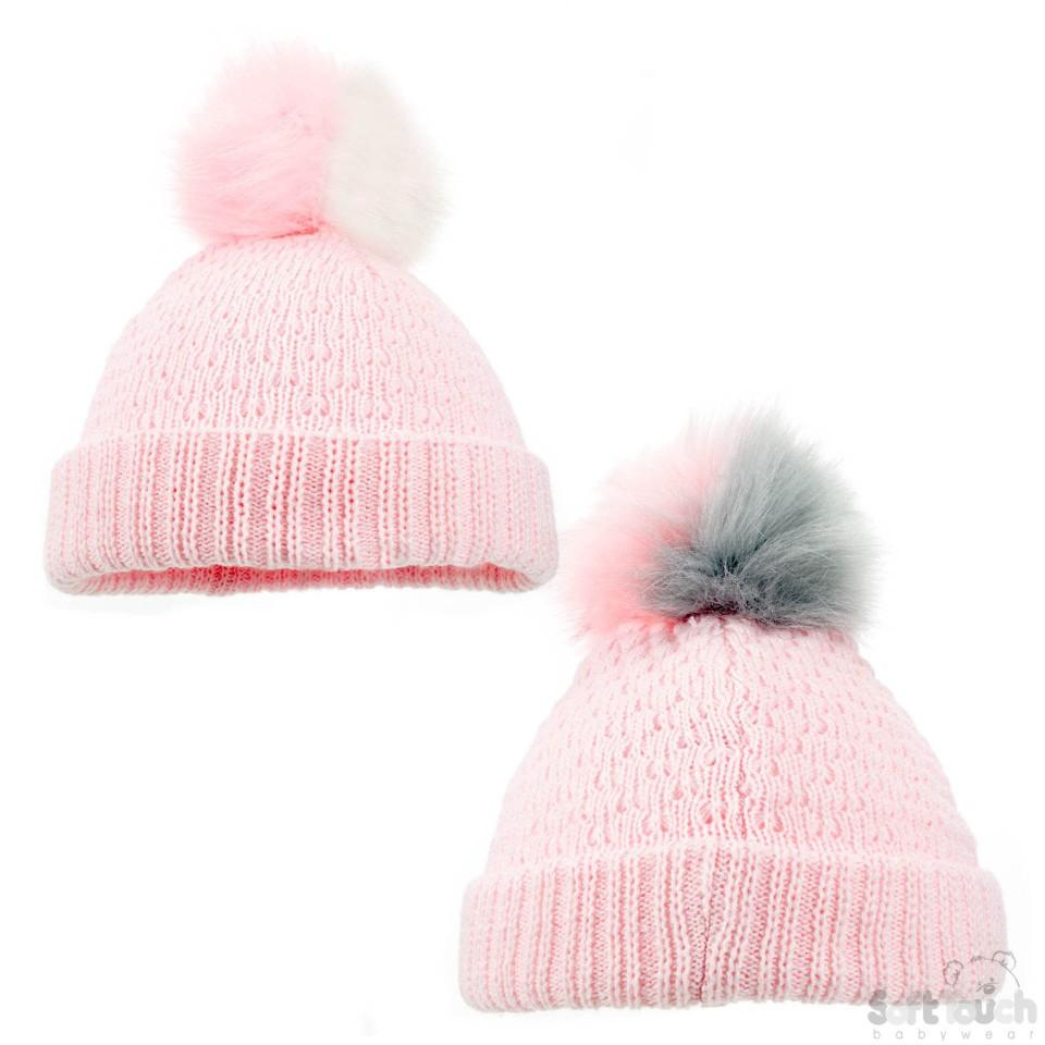 Pink Diamond Ribbed Hat -Double colour pom pom (NB-12M) H600-P-SM