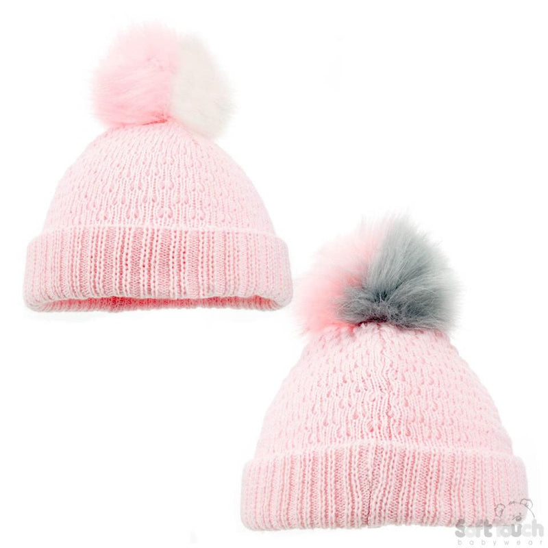 Pink Diamond Ribbed Hat -Double colour pom pom (NB-12M) H600-P-SM - Kidswholesale.co.uk