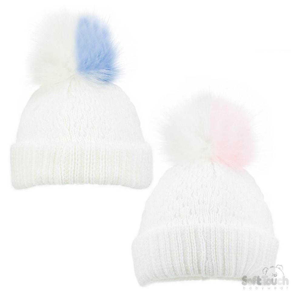 White Diamond Ribbed Hat -Double colour pom pom (NB-12M) H600-W-SM