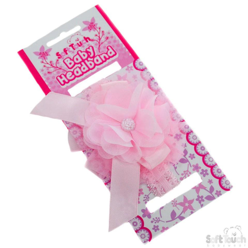 Pink Lace Headband W/Lace Flower & Bow W/Gem: HB45-P - Kidswholesale.co.uk