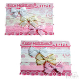3 PACK GIRLS HEADBANDS W/BOW & GOLD OR SILVER TRIM: HB47