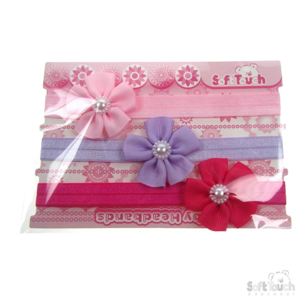 3 PACK GIRLS HEADBANDS W/FLOWER & PEARL: HB49