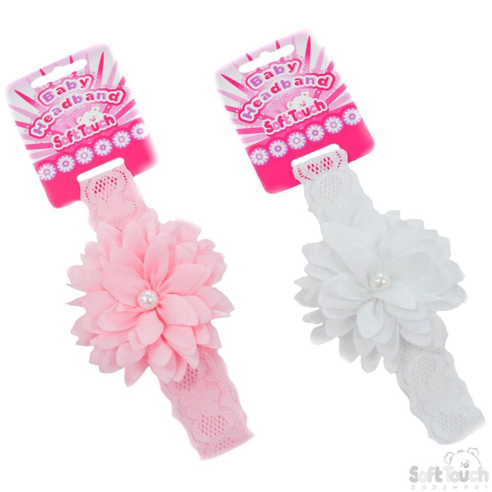 Girls Lace Headband W/Flower & Pearl: HB61