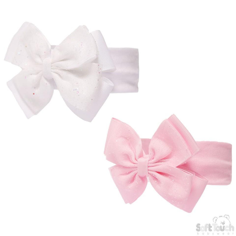 PLAIN HEADBAND W/GLITTER BOW - HB92 - Kidswholesale.co.uk