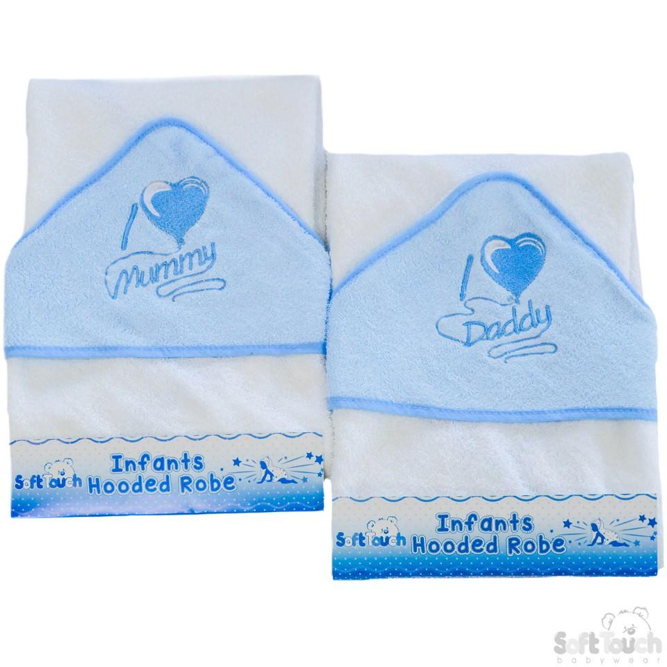 "Infants ""I Love Mummy/Daddy"" Hooded Robe - Blue - HT14-B"
