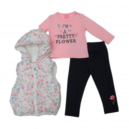 Girls 3pc Set - Padded Jacket, Top, Trousers - (6-24M) 04JTC8623 - Kidswholesale.co.uk