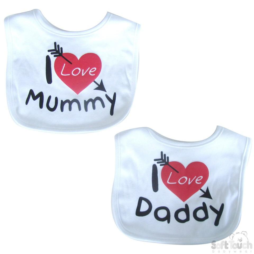 "I LOVE MUMMY/DADDY"" VELCRO BIB - P3604"