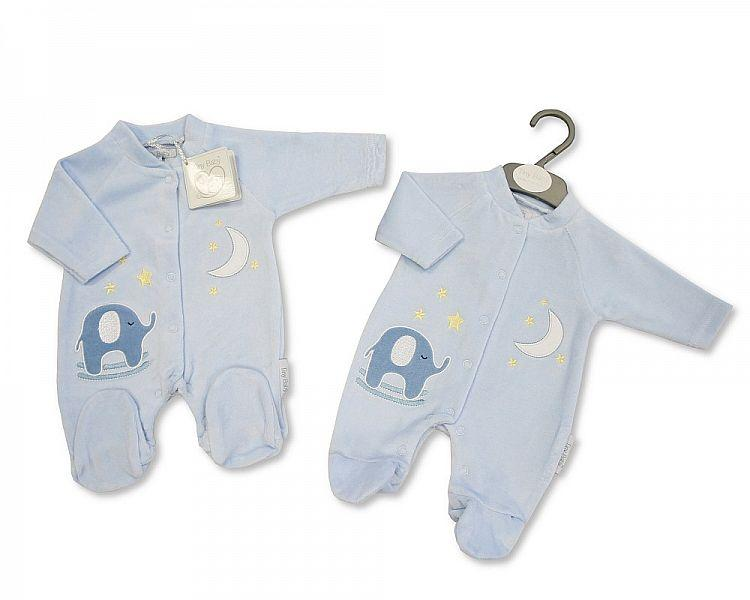 Premature Baby Velour All in One - Elephant - 3/8 Lbs (PB-20-0064) - Kidswholesale.co.uk