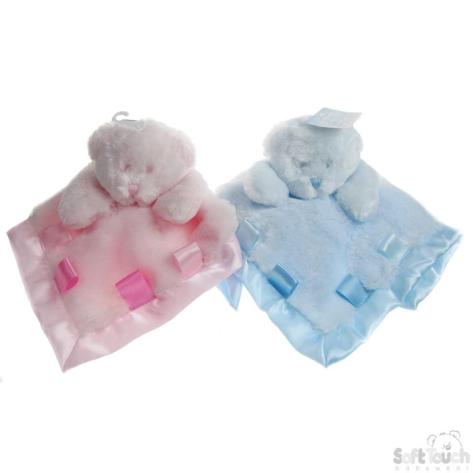 PLUSH BEAR COMFORTER W/RIBBONS: BC25-PB