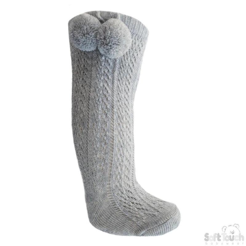 Grey Infants Pelerine Knee-Length Socks W/Pom Pom - 0-24 Months - PS04-G - Kidswholesale.co.uk