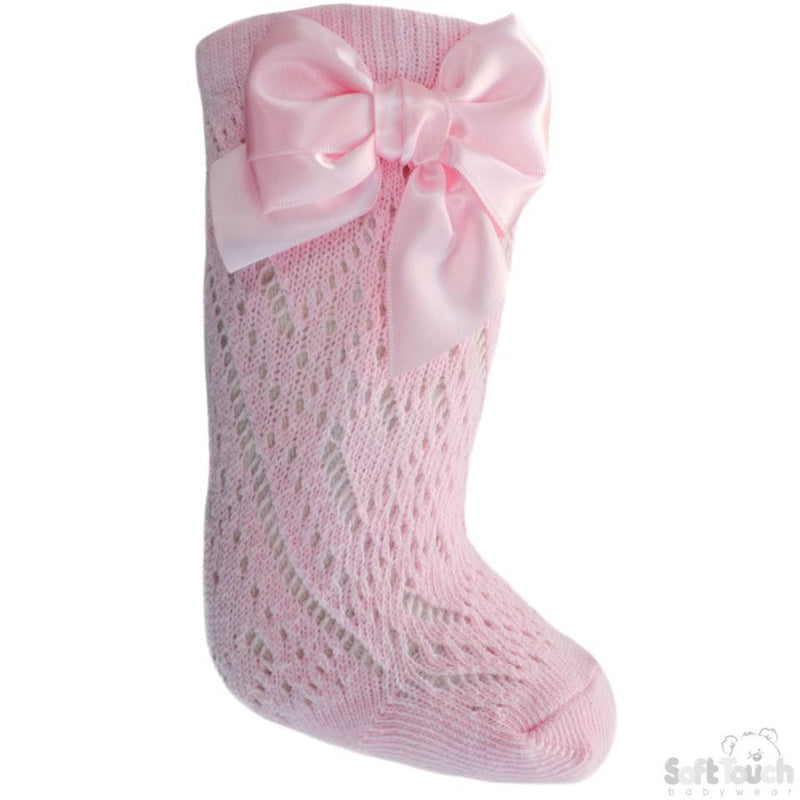 Pink Infants Pelerine Knee-Length Socks W/Bow - 0-24 Months - PS06-P - Kidswholesale.co.uk