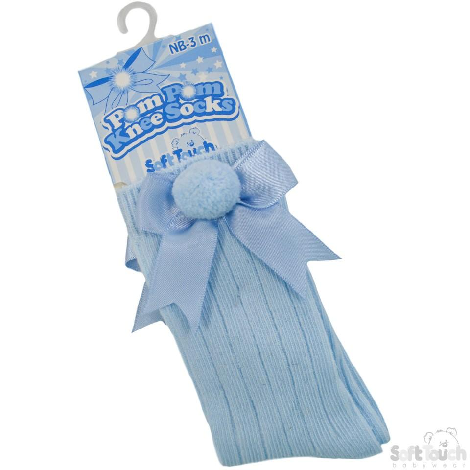 Blue Infants Ribbed Knee-Length Pom-Pom Socks W/Satin Bow: S107-B