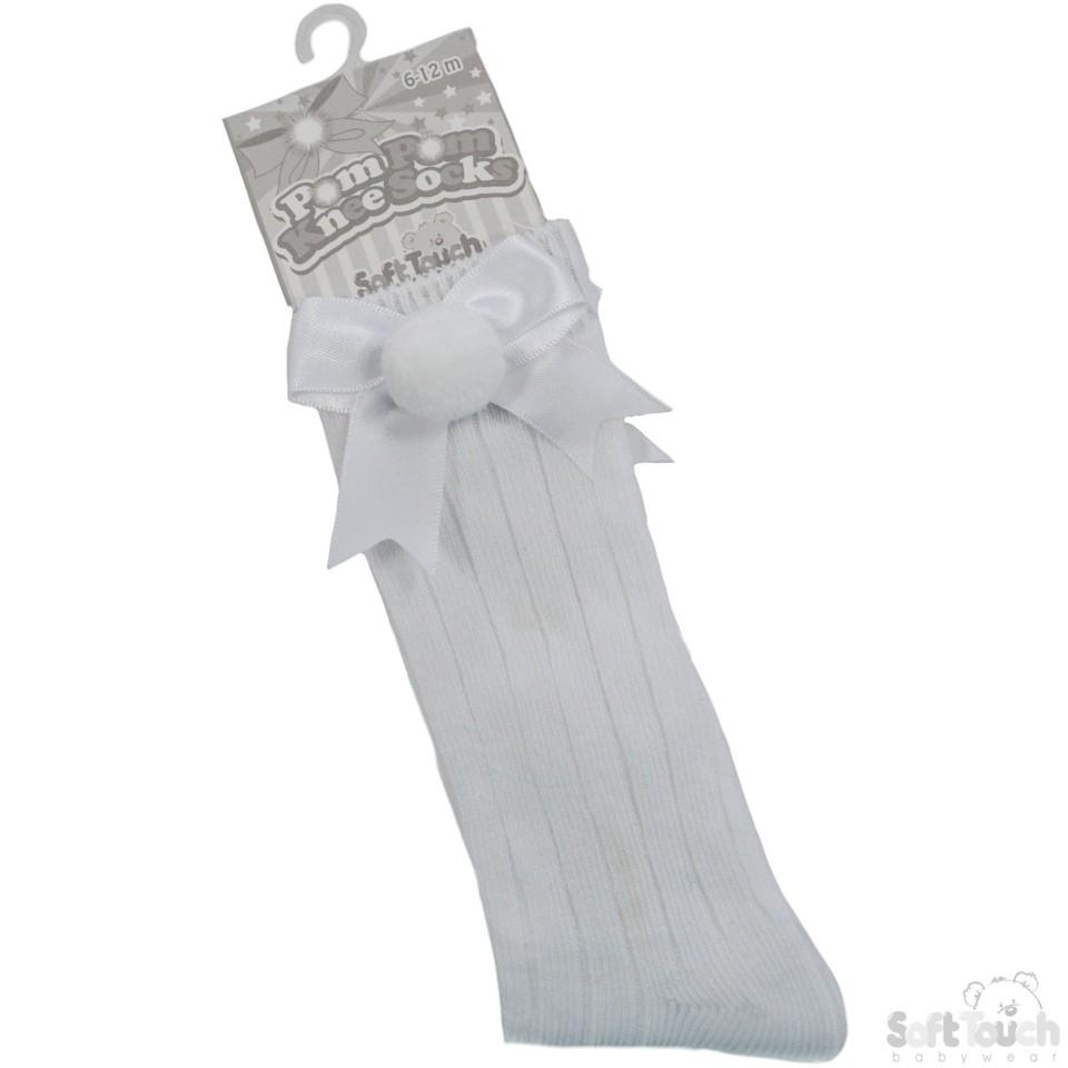 White Infants Ribbed Knee-Length Pom-Pom Socks W/Satin Bow: S107-W