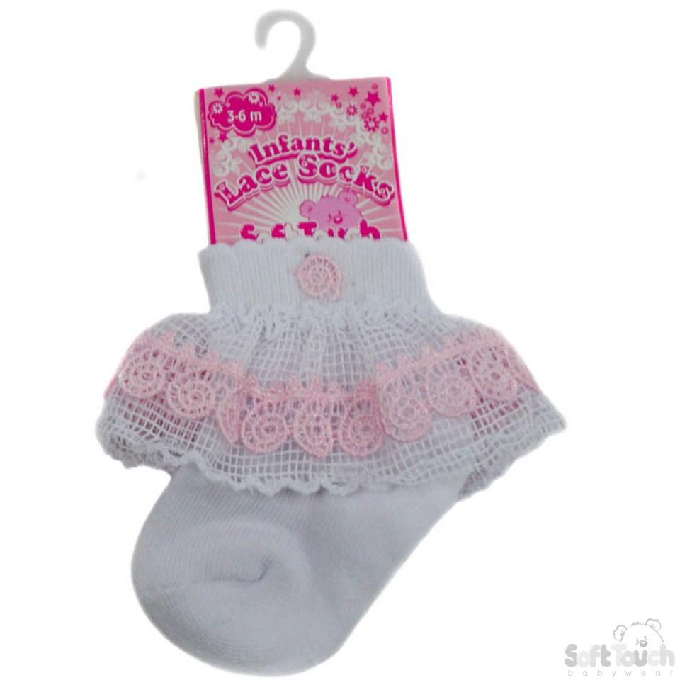 Waffle Lace Socks W/Pink Flower Trim (NB-12 Months) S117-P