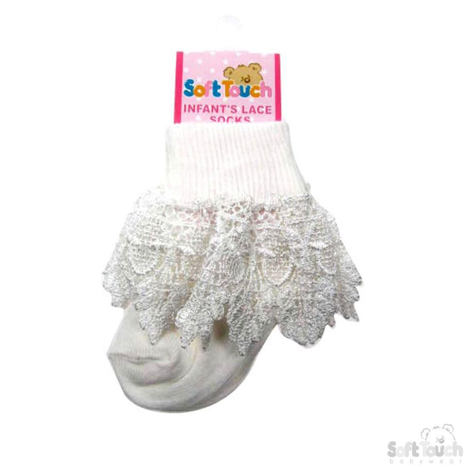INFANTS DEEP LACE SOCKS: S13-CR