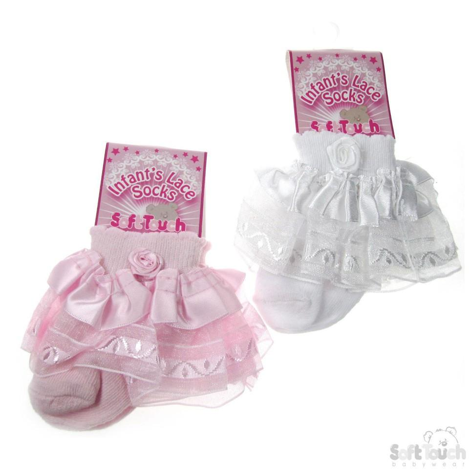 INFANTS LACE SOCKS W/FLOWER: S14