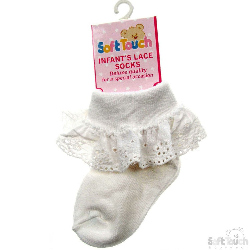 INFANTS COTTON LACE SOCKS (Cream)(s23-C)
