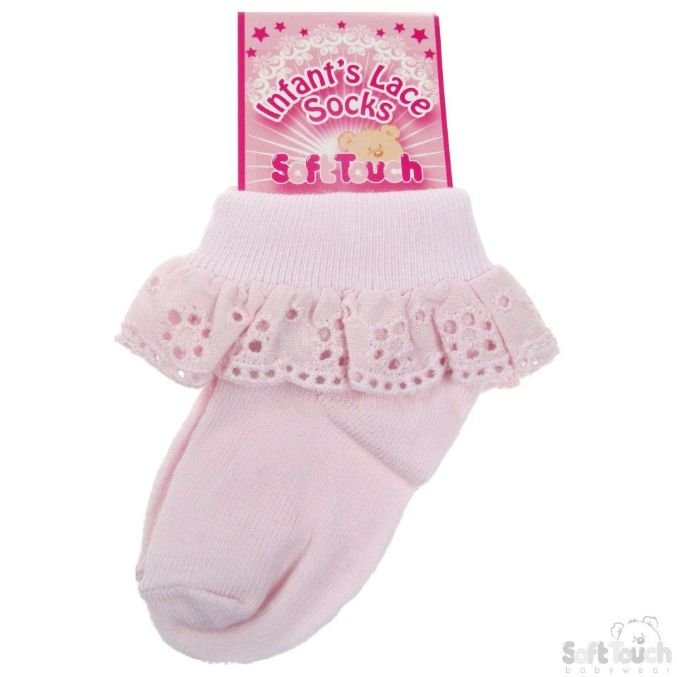 INFANTS COTTON LACE SOCKS (Pink)(S-23P)