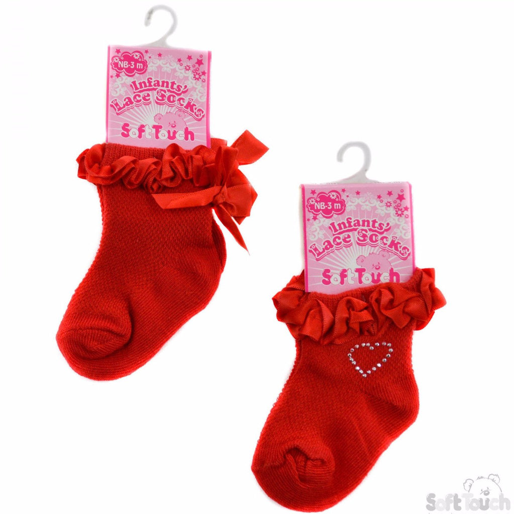 Plain Red Jacquard Socks W/Double Face Satin Lace (S245-R)