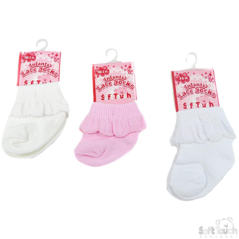 PLAIN JACQUARD SOCKS W/LACE: S247 - Kidswholesale.co.uk
