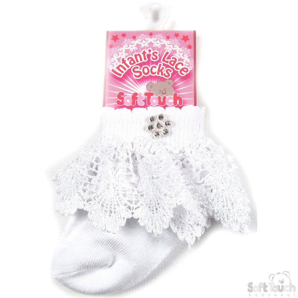 Infants Lace Socks with Embellishments S33-W