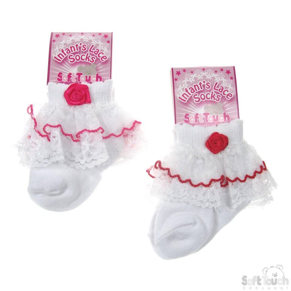 PLAIN SOCKS W/DOUBLE LACE & ROSE: S36