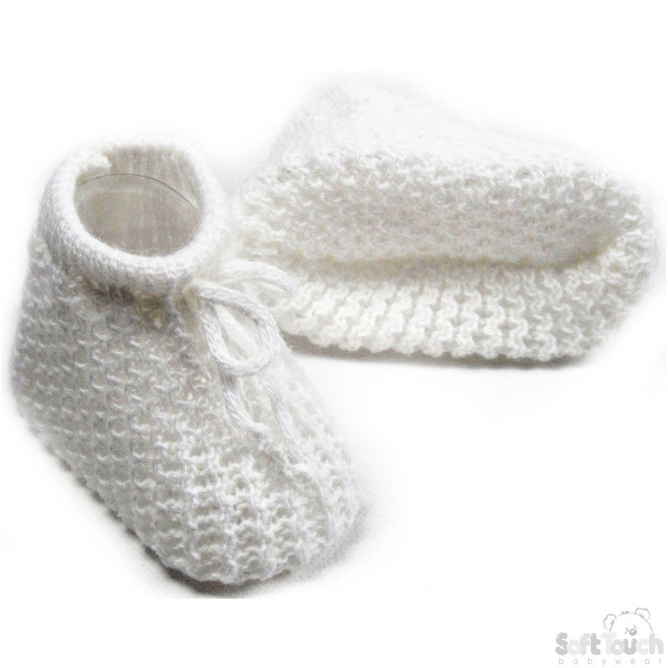 White Knitted Infant Bootees - s401-w