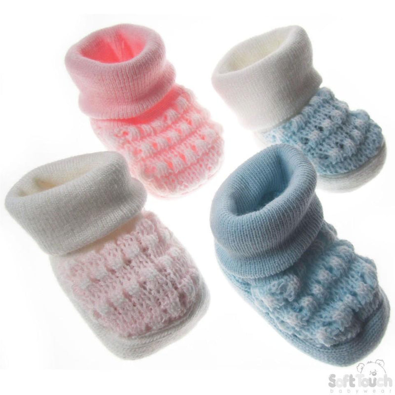 ACRYLIC TURNOVER BABY BOOTEES: S402 - Kidswholesale.co.uk